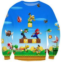 2016 new harajuku 3D sweatshirt funny game Super Mario print hoodie crewneck pullover top men women fashion streetwear(China (Mainland))