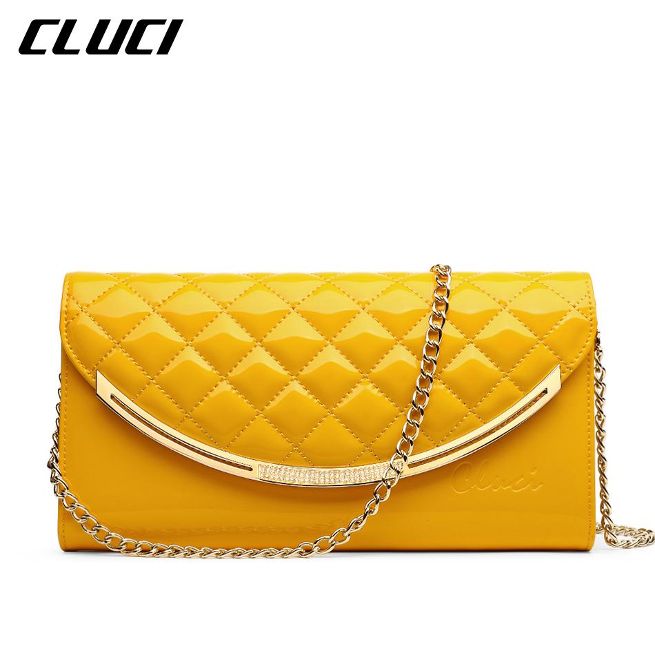 CLUCI Women Messenger Bags Flap Fashion Diamond Lattice font b Plaid b font Black Pink Yellow