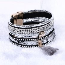 Bohemian Multilayer Leather bracelet Braided Handmade Wrap Cuff magnetic clasp(China (Mainland))