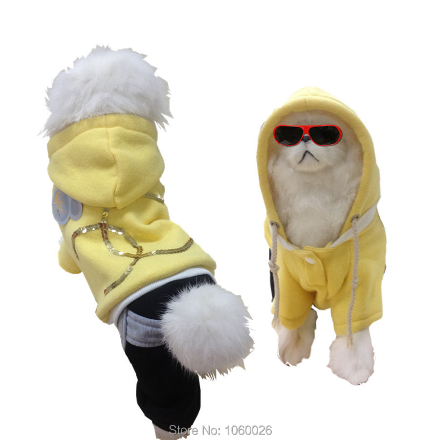 New designer sporty dog clothes pet hoodie puppy dog jumper clothing for autumn winter yellow cotton dog jumpsuits all sizes (China (Mainland))