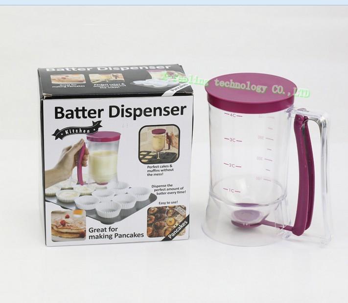 NEW 2014 Baking Essentials dough Cupcake Batter Cake Dispenser Drop Grease distributor/Oil separator valve measuring cup Pancake(China (Mainland))