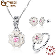 BAMOER Genuine 100% 925 Sterling Silver Jewelry Set White Flower Pink Clear CZ Jewelry Sets Wedding Engagement Jewelry ZHS036(China (Mainland))