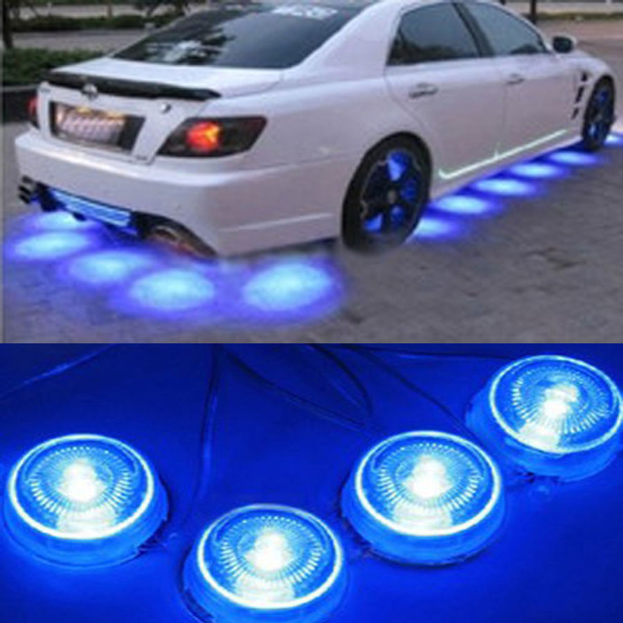 Buy 8 Pcs Led Blue Light Underbody Glow Interior Under Car Auto Decoration Lamp