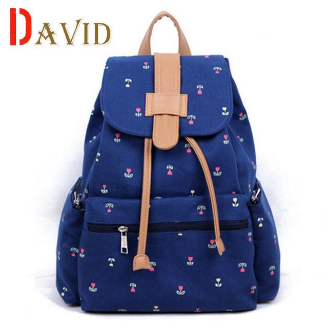 2016 Модный flowers печать холст рюкзак женщины известные бренды школьные сумки для ...