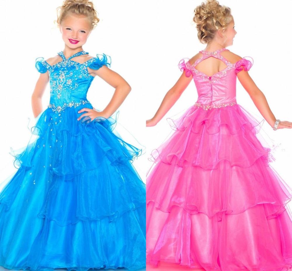 Lovely Princess Beadings Communion Dress Girl's Pageant Dresses Blue Ball Gown Flower Girl Dresses Custom Made 2015 New cut girl(China (Mainland))