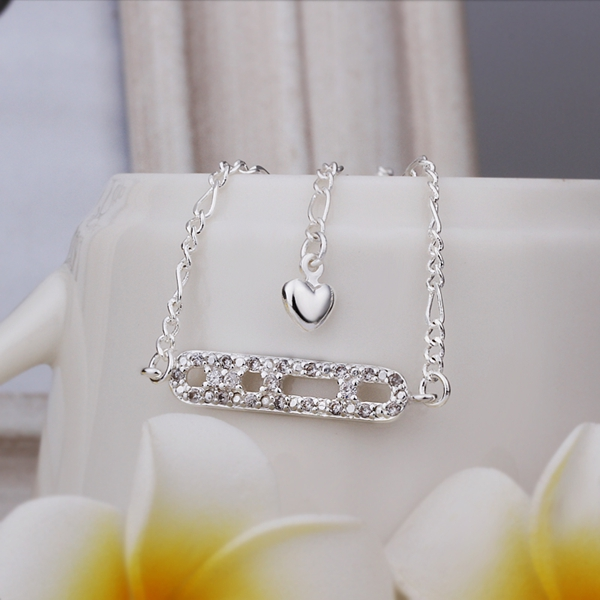 New Design Crystal Ladder Casual Style Silver Color Anklets Outside Wearing Low Price Silver Plated Anklets For Women(China (Mainland))