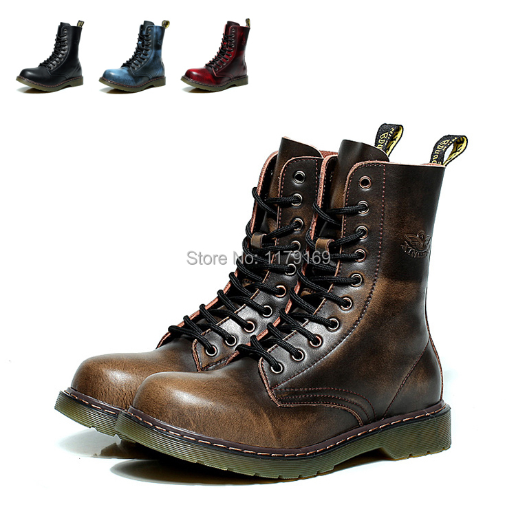 Men Autumn Winter Genuine Leather Martin Ankle Boots Western Sneakers