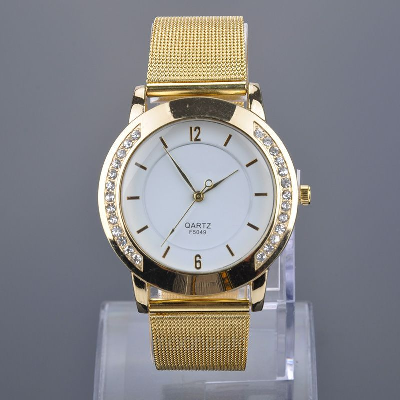 US Local Stock , Elegant Women Quartz Watch Stainless Steel Rhinestone Watches Women Golden Mesh Band Wristwatch WQMHM386*0(China (Mainland))