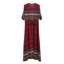 קיץ 2019 מקרית שרוולים מקסי שמלת וינטג Loose נשים בגדי החוף סקסי שמלת אופנה אלגנטי גבוהה מותן ארוך שמלות(China)