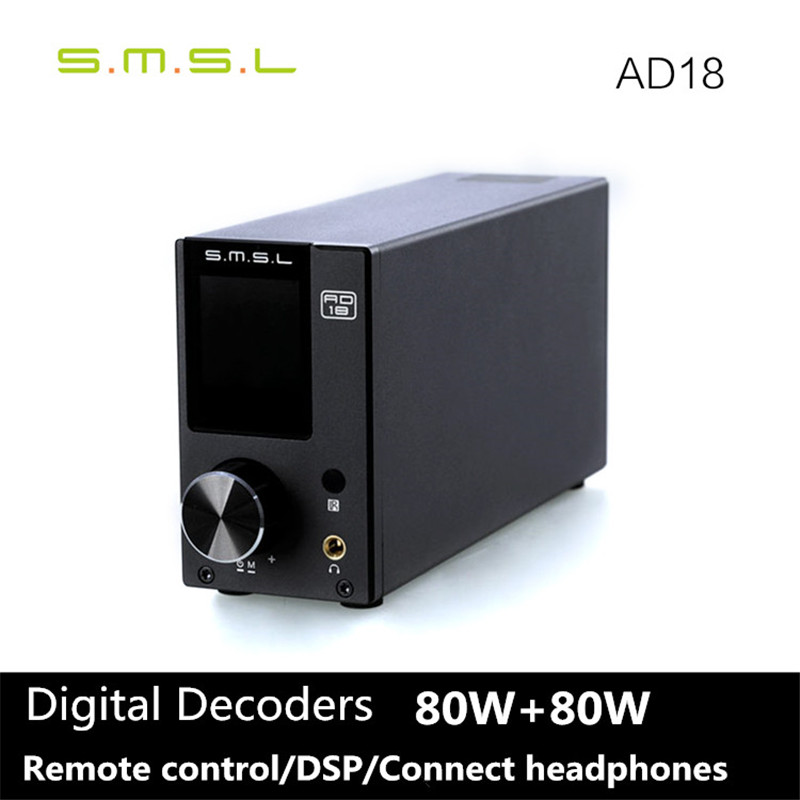 2016 Newest SMSL AD18 80W*2 DSP HIFI Bluetooth Pure Digital Audio Amplifier Optical/Coaxial USB DAC Decoder With Remote Control(China (Mainland))