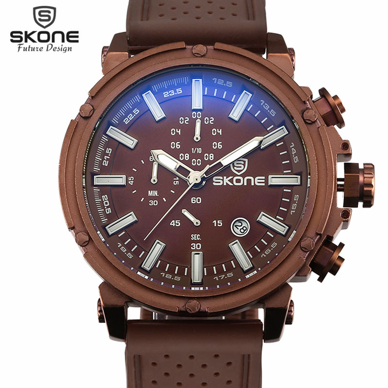 SKONE Date Chronograph Sport Watches Men Waterproof Shock Resistant Quartz-watch Silicone Watch Time Hours relogio reloj hombre(Hong Kong)