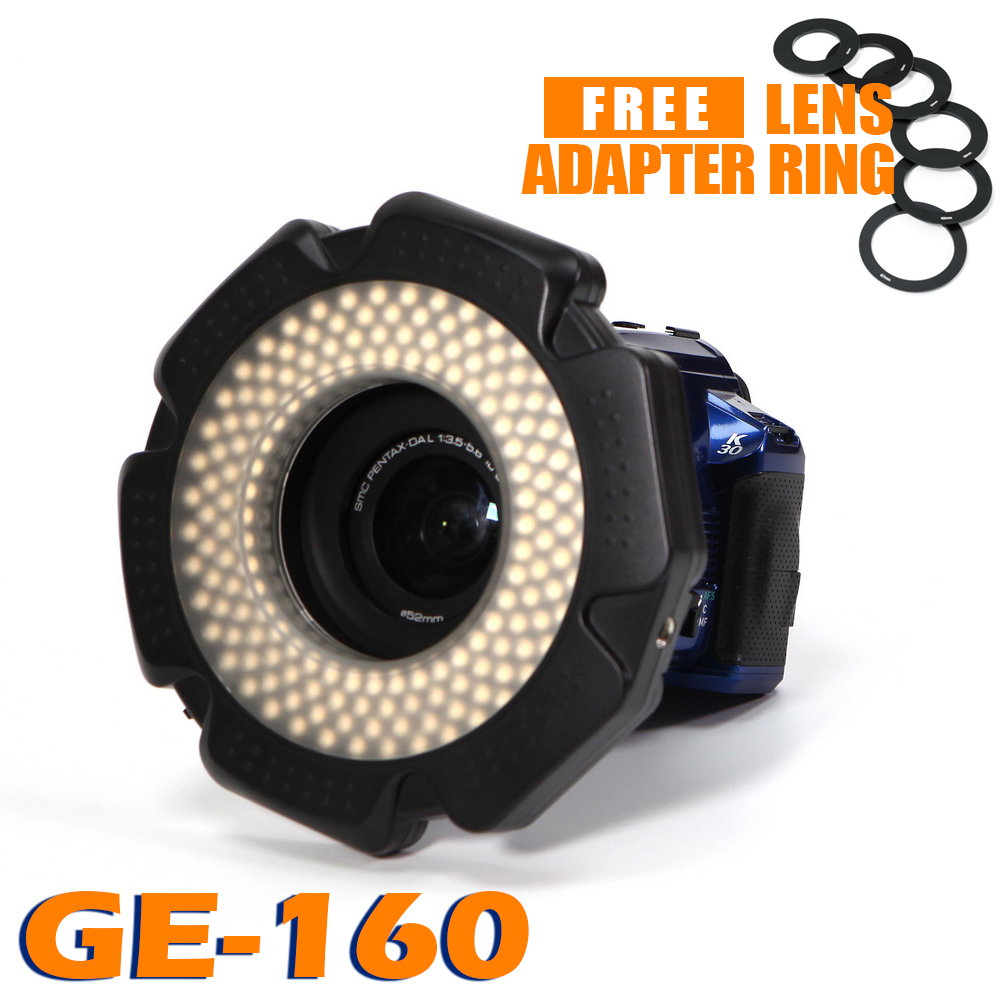 85% CRI 160 Chips Dimmable LED Ring Light for DSLR DV Camcorder Video 5600K AA Battery Power Source Free Lens Adapter Ring(China (Mainland))