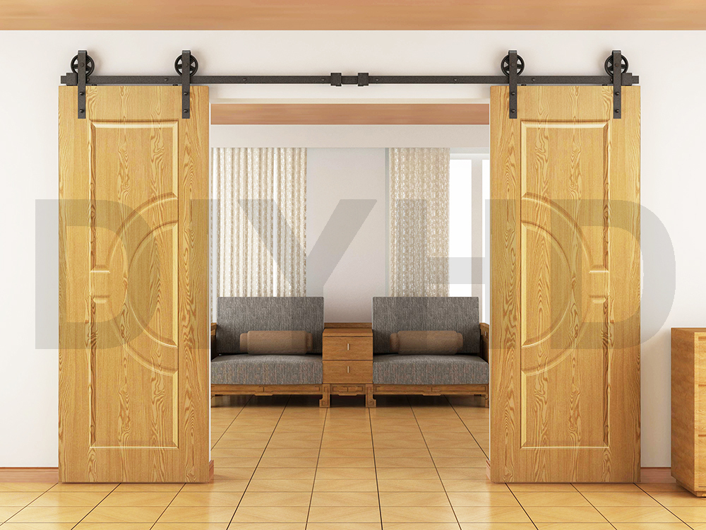 8ft 10ft 12ft vintage style strap industrial wheel double for Double sliding doors