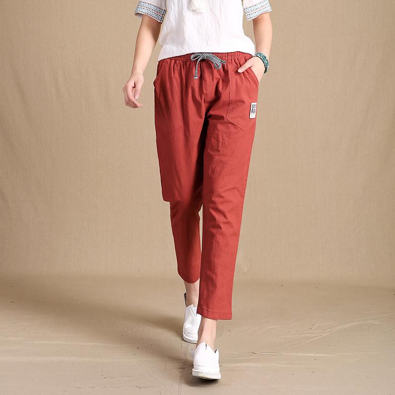 2017 summer women trouser classic striped linen pants loose radish pants elastic waist casual pants pantalon harem pants(China (Mainland))