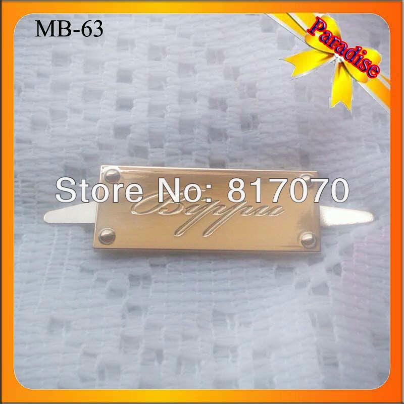(MB-63) Discount for gold color zinc alloy metal plate/bag logo/badge for garment/handbags decoration(China (Mainland))