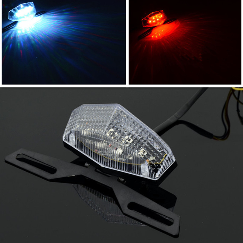 2015 New Universal Red/Blue Lights Motorcycle LED Rear Lights Motorbike Brake Tail Lights With Adjustable License Plate Bracket(China (Mainland))