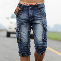 2015 New Men Retro Cargo Denim Shorts, Men's Casual Washed Cotton Short Jeans,Men Outdoor Wear Military Style Free Shipping A021