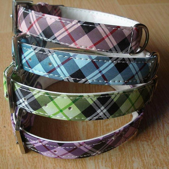 Pet's world Dog collar size M(2X43cm) cool check print dog collar pets collar 4colours available