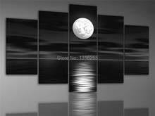 Hand-painted art The dark night sea bright moon ready to hang Wall Decor Landscape Oil Painting on canvas 5pcs/set(China (Mainland))