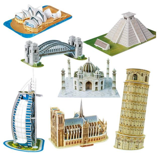 Масштаб бумажные миниатюрная модель эйфелева башня мост великая стена пизанская башня 3d пазлы головоломка для дети-мир отличная архитектура