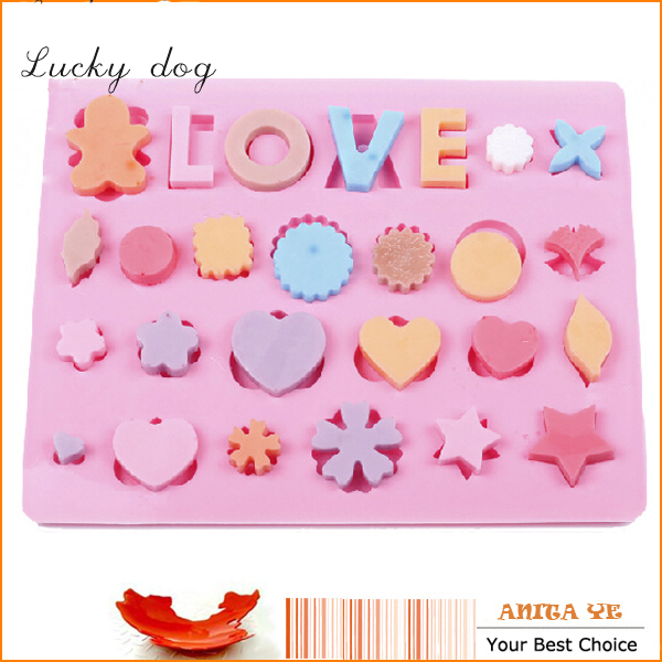 English Words Love Heart Silicone Mat Chocolate Ice Cake Sugar Fondant Form Moulds Kitchen Bakeware Pastry Mold Tools(China (Mainland))