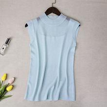 Haut d'été femmes nouveau débardeur hauts Camisole femmes tricoté Sexy gilet haut sans manches décontracté évider élasticité solide mince pull(China)