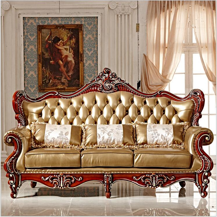 Real Leather Living Room Set: High Quality European Antique Living Room Sofa Furniture