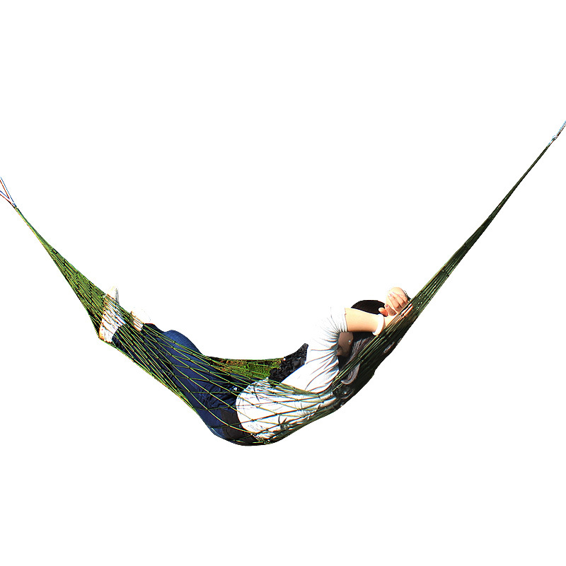 Net bag free shipping outdoor nylon rope hammock hammock single bold mesh nylon rope hammock send tying pocket(China (Mainland))
