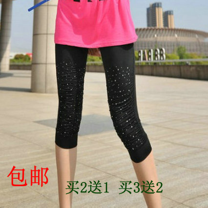 Candy color fashion rhinestone rhinestones thin viscose legging elastic capris trousers