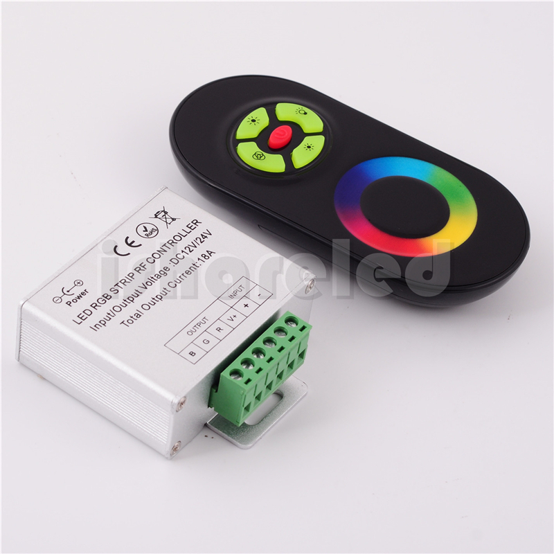 2014 real top fasion yes ccc ce rohs black white 12v rf 5 key rgb led controller touch remote 18a for 5050 smd strip dc 12-24v(China (Mainland))