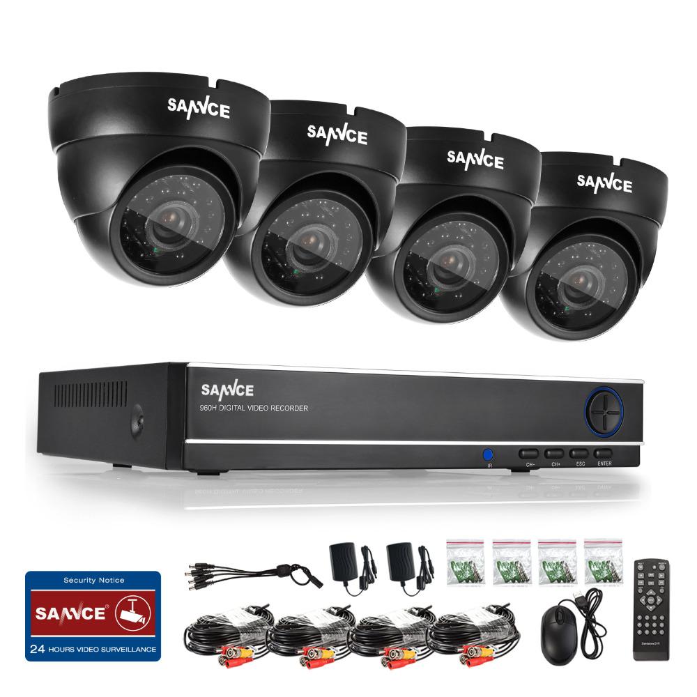 SANNCE 4 Indoor Outdoor IR Home Surveillance Camera System 4 CH 960H HDMI DVR(China (Mainland))