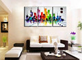 Abstract modern 3 piece canvas wall art hand painted Building Knife oil painting on canvas for