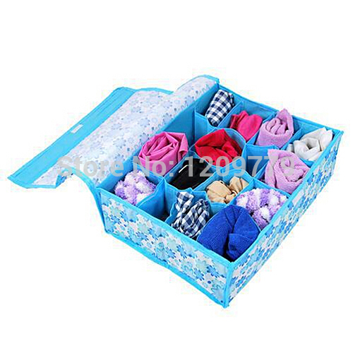 A5 Free shipping New 16 cell Pouches Soft Cover Home Used Underwear Socks Bras Storage Box IA834 P(China (Mainland))