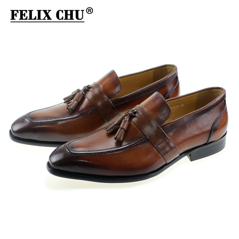 FELIX CHU Spring Autumn Classic Men Formal Wedding Shoes Genuine Cow Leather Slip Party Casual Business Brown Dress Man Shoe