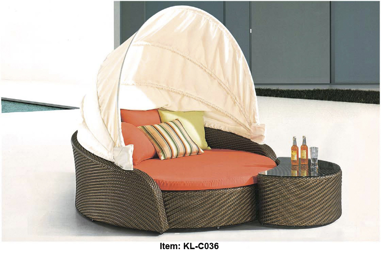 KL-C036 free shipping, door to door service, rattan garden furniture sets, round canopy bed, lying sofa sets(China (Mainland))