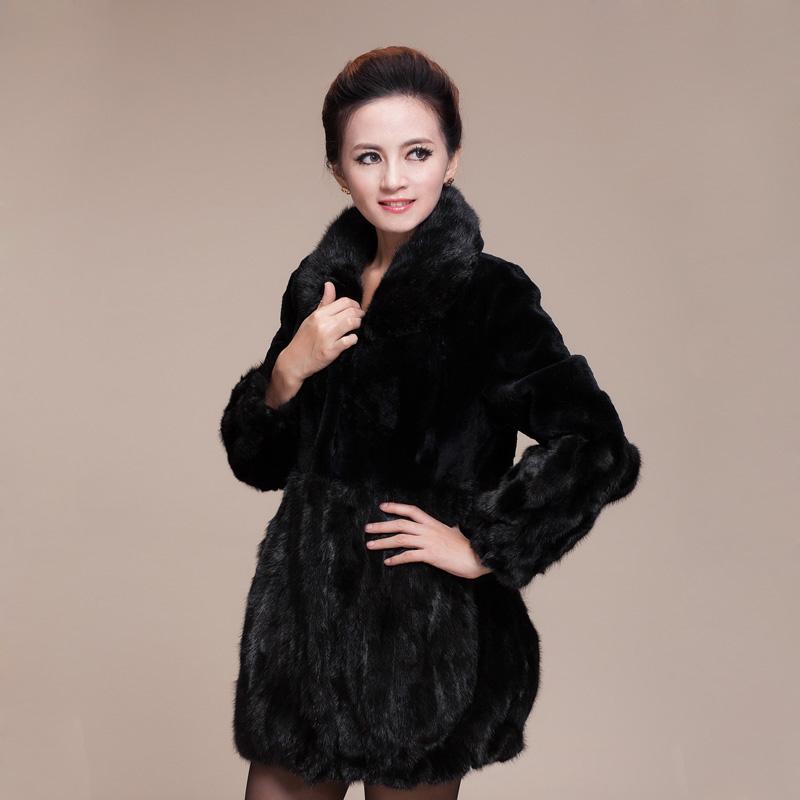 2013 Winter Womens Genuine Rex Rabbit Fur Coat with Mink Fur Collar and Hem Female Warm Outerwear Plus Size VK0994Îäåæäà è àêñåññóàðû<br><br>