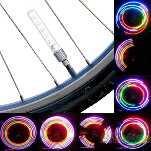2 x Bike Bicycle Wheel Tire Valve Cap Spoke Neon 5 LED Light Lamp Accessories Wholesale 1NJX(China (Mainland))