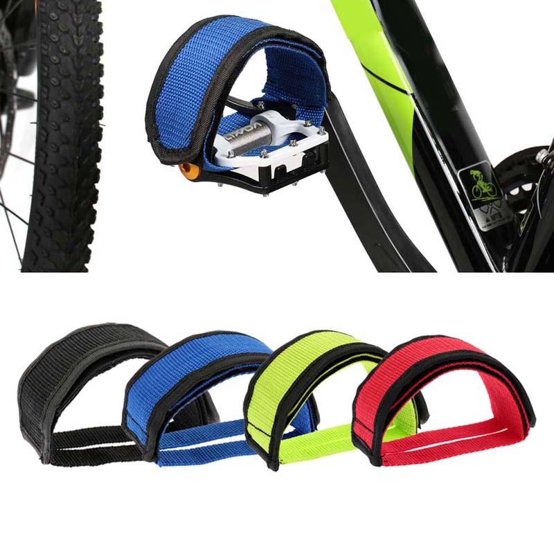 1Pcs Fixed Gear Fixie BMX Bike Bicycle Anti-slip Double Adhesive Straps Pedal Toe Clip Strap Belt Red / Blue / Green / Black(China (Mainland))