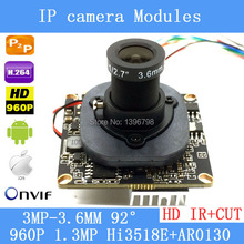 Buy HD 1.3MP IP Camera Module 960P CCTV PCB Main Board IRC ONVIF, H.264 Hisilicon, 3.6mm 3mp lens+ IR Cut for $24.46 in AliExpress store