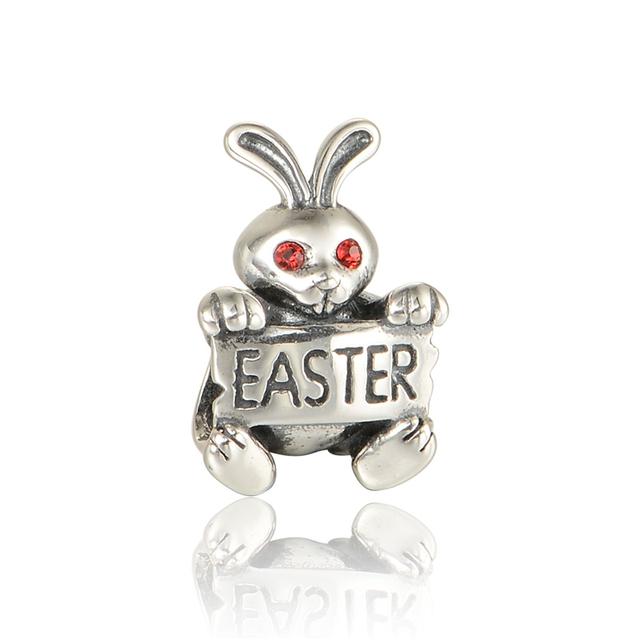 925 - серебристо-ювелирные пасхальный кролик бусины подходящий европейский оригинальный подвески браслет DIY поиск новых X366