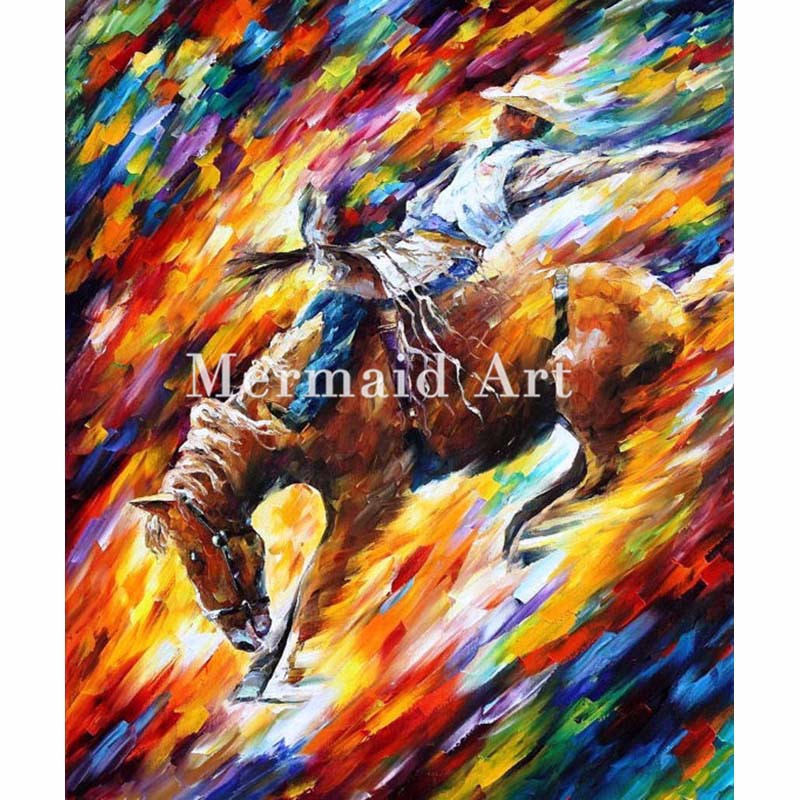 Buy hand painted Modern Artwork of Landscape Palette knife thick Art Dangerous Games canvens Oil Painting Wall Decoration Fine Art cheap