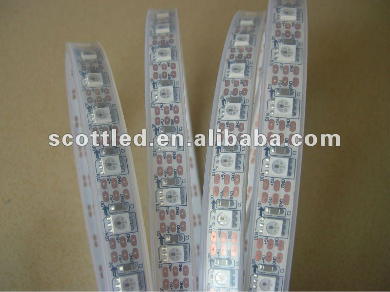 DC5V,White PCB, 4M WS2811 LED digital strip,60leds/m built-in tthe 5050 smd rgb led chip.silicone tube waterproof, - SCOTT Store store