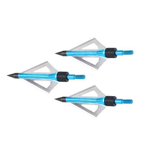 3PCS LOT Blue 3 blades Aftershock Maniac Sharp Hunting Hunter Shooting Bow Arrow Broadheads archery New