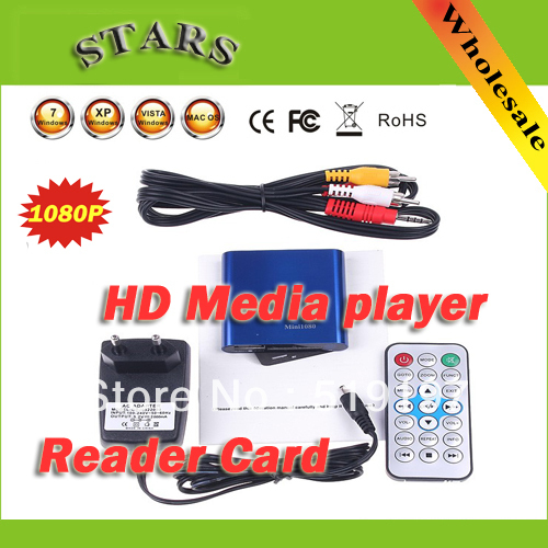 Free shipping MINI Full HD 1080P HDMI HDD multi Media player With SD card reader support MKV DVD media Player for media center(China (Mainland))