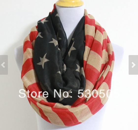 Vintage American Flag Infinity Scarf star bangled banner loop scarf Red and Blue star Scarf Vintage Feel American Flag Scarf(China (Mainland))