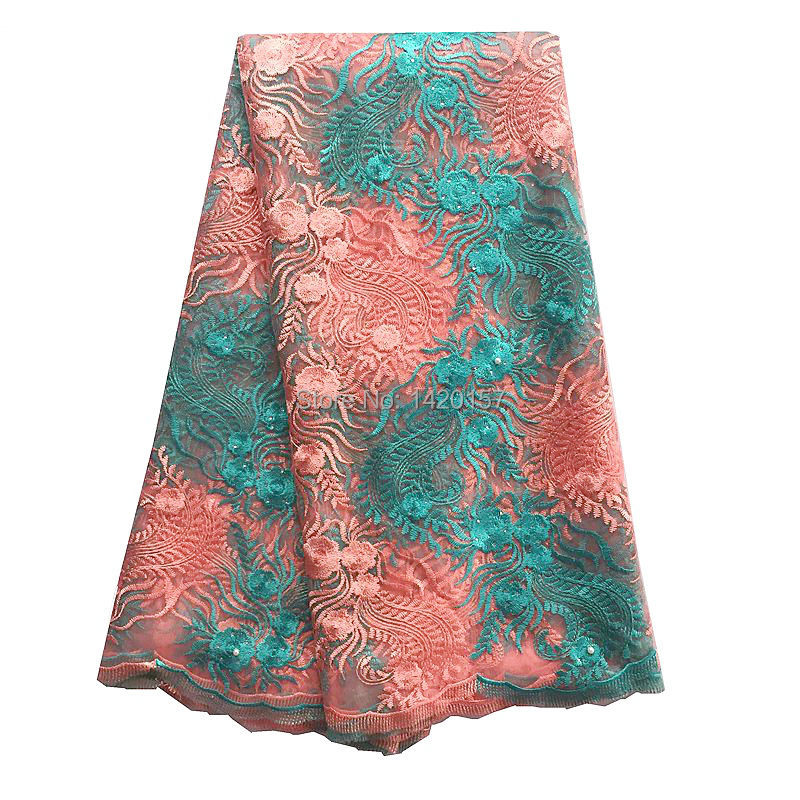 Unquie Embroidery Tulle Fabric Green Peach Nigerian Lace Fabric 2016 African Guipure Cord High Quality French Net Laces(China (Mainland))