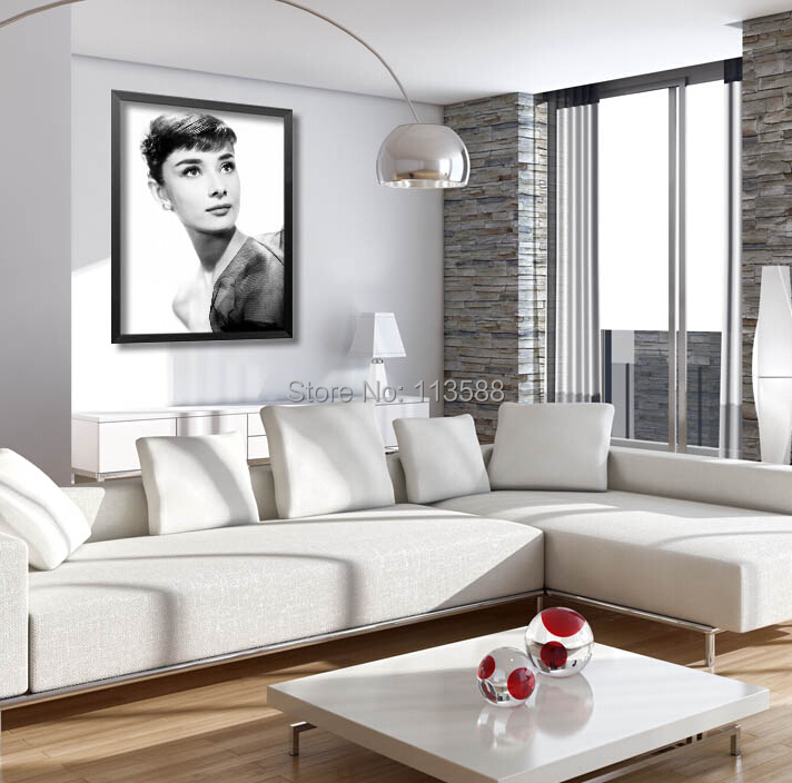 European Style Cafe Living Room Black White Audrey Hepburn Star Poster Study Bedroom Wall Decoration Painting HD0457 - (mix order$15 storeSunshine Store)
