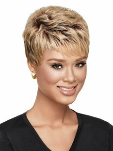 Hot sale Free shipping Cheap Synthetic wigs Short hair Wavy Blonde wig cap with choppy face-framing bangs for women(China (Mainland))