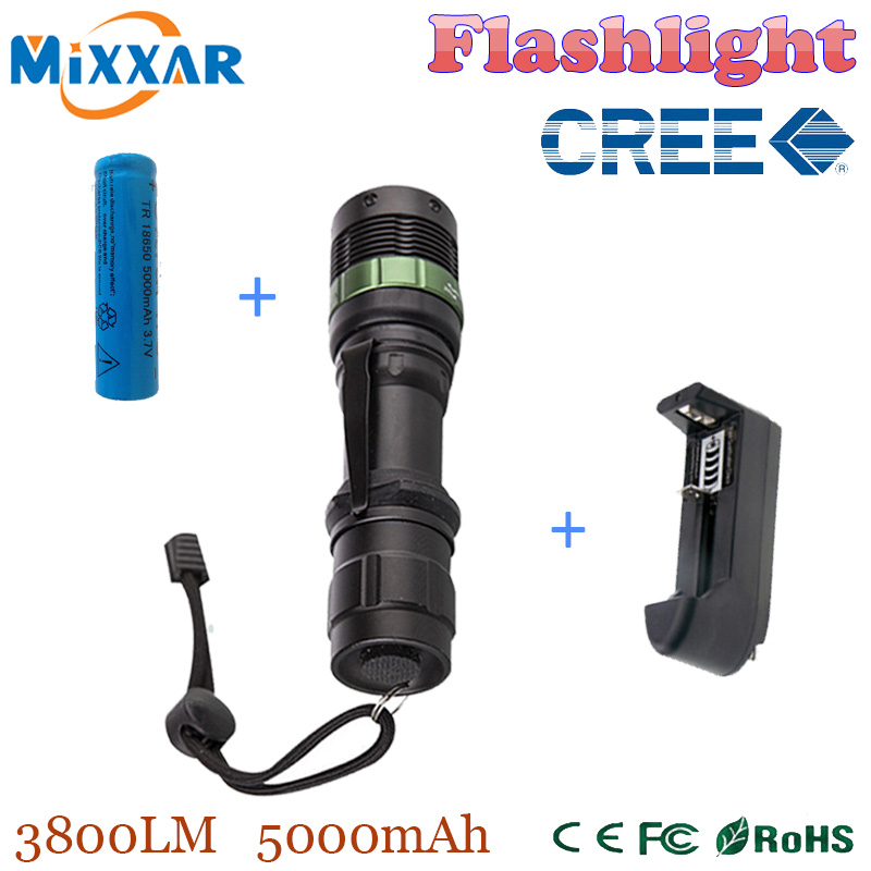 3800 Lumen Zoom XM-L Q5 LED Flashlight Torch Waterproof Lamp Light Black led torch high light with battery and battery charger(China (Mainland))