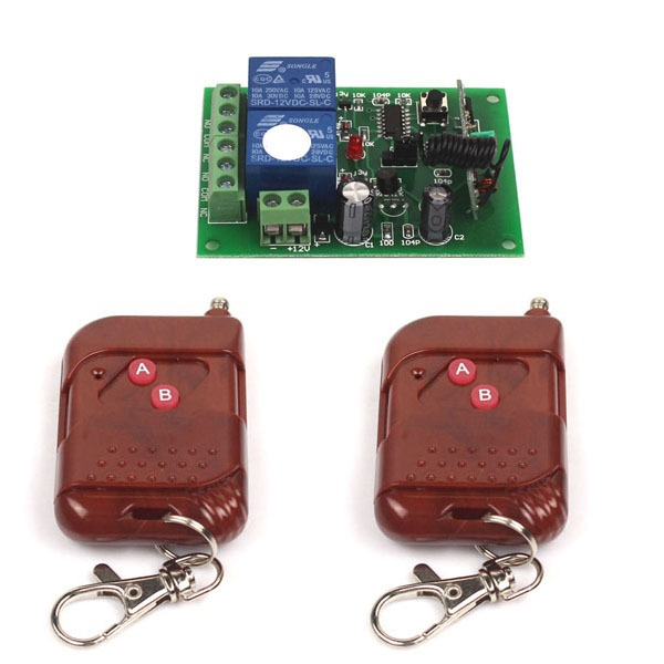 DC 12V 10A Relay 2CH wireless RF 2 Remote Control Switch Transmitter+ Receiver(China (Mainland))